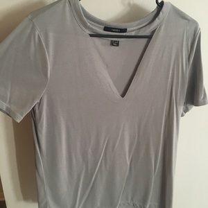 Light grey V neck T-shirt